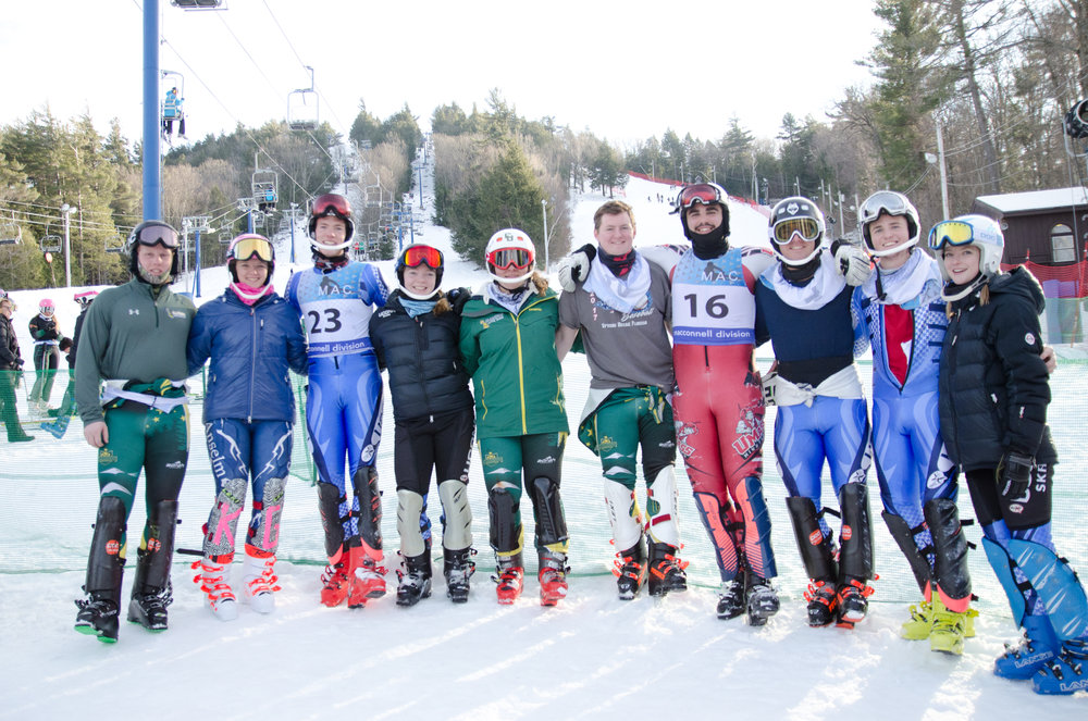 Pictured are: Greg Murray(Clarkson), Kathryn Graham(St Anselm), Mike and Dolores White(UCONN), Libby McCusker, Ryan Riley(Both Clarkson), Jonah Glickman(UMASS), Brian Chambers, Aiden Riley and Taylor Ludl (UCONN) at the McConnell Division race at Pat's Peak a couple of weeks ago