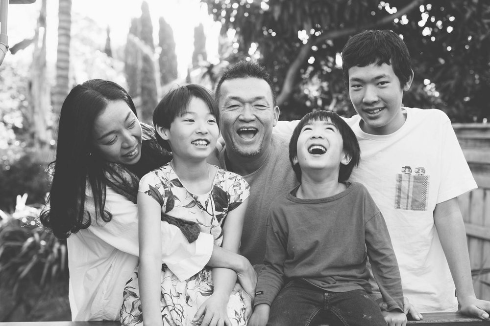 Black and white casual family photo