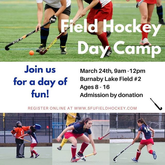 Hey, field hockey friends! Our members are holding a day camp for players aged 8 to 16. Spots are limited! Registration link in bio 🏑 *event not affiliated with Simon Fraser University