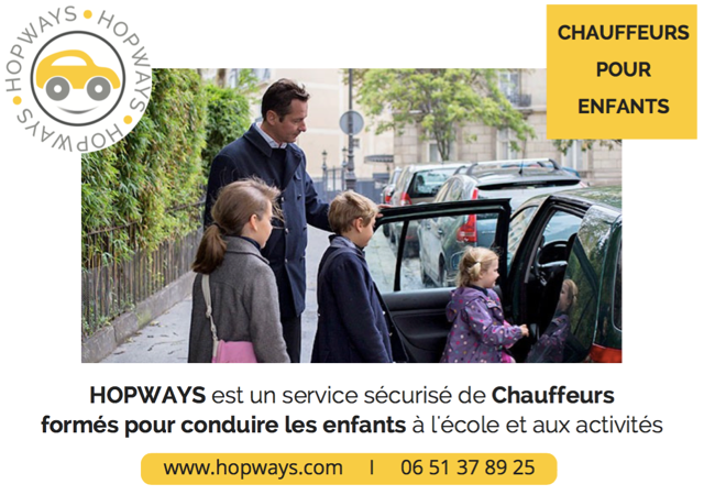 Notre partenaire pour accompagner vos enfants - Nous vous mettons en relation avec les autres parents et vous pourrez réserver un chauffeur qui accompagnera de 1 à 4 enfants, entre 20€ et 30€ par course.Vous pourrez profiter d'un code de réduction de 15% lors de l'inscription de votre enfant à l'atelier.