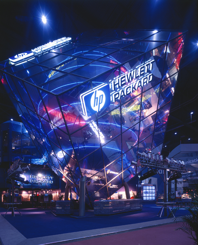 HP, Telecom Geneva 1995: Our first project! -  Design of a sphere inside a cube, balanced on a point to support brand messaging around 'E=MC2', which in HP's case meant, E = Measurement, Computing and Communications.