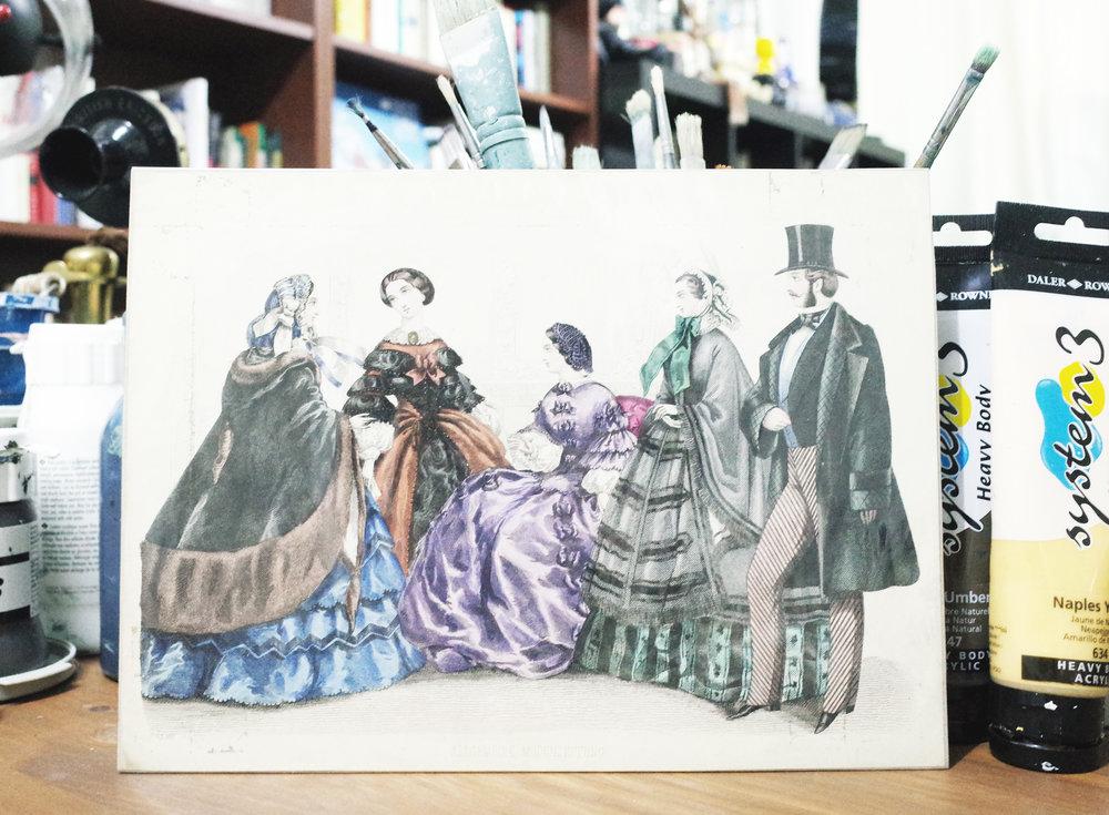 2 FASHION ILLUSTRATION BY ALLGEMHINE MODENZEITUNG (1857)  - 在另一間古書店找到這幅50 年代畫的插畫,是真跡來的啊!很佩服以前的人對生活品味的講究,衣服的造工華麗又仔細。