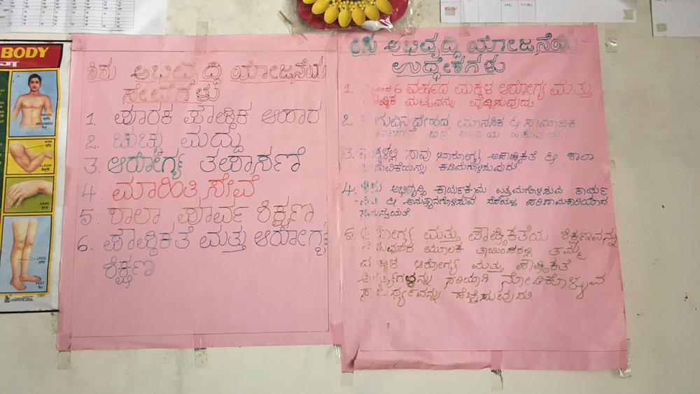 i/  Posters at the local anganwadi on their health and nutrition services