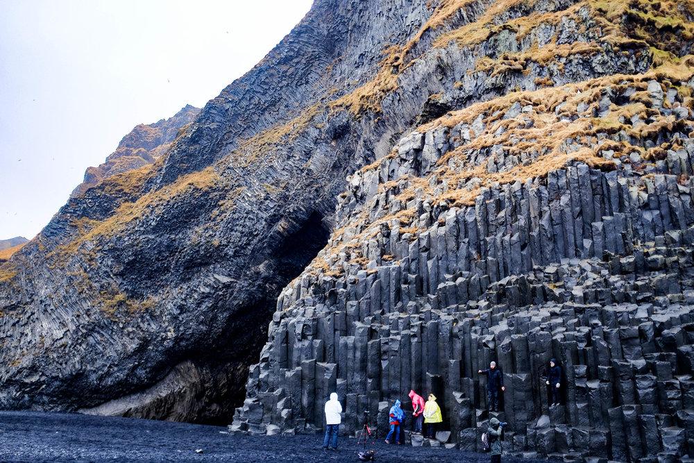 Reynisfjara black beach & its bassalt column