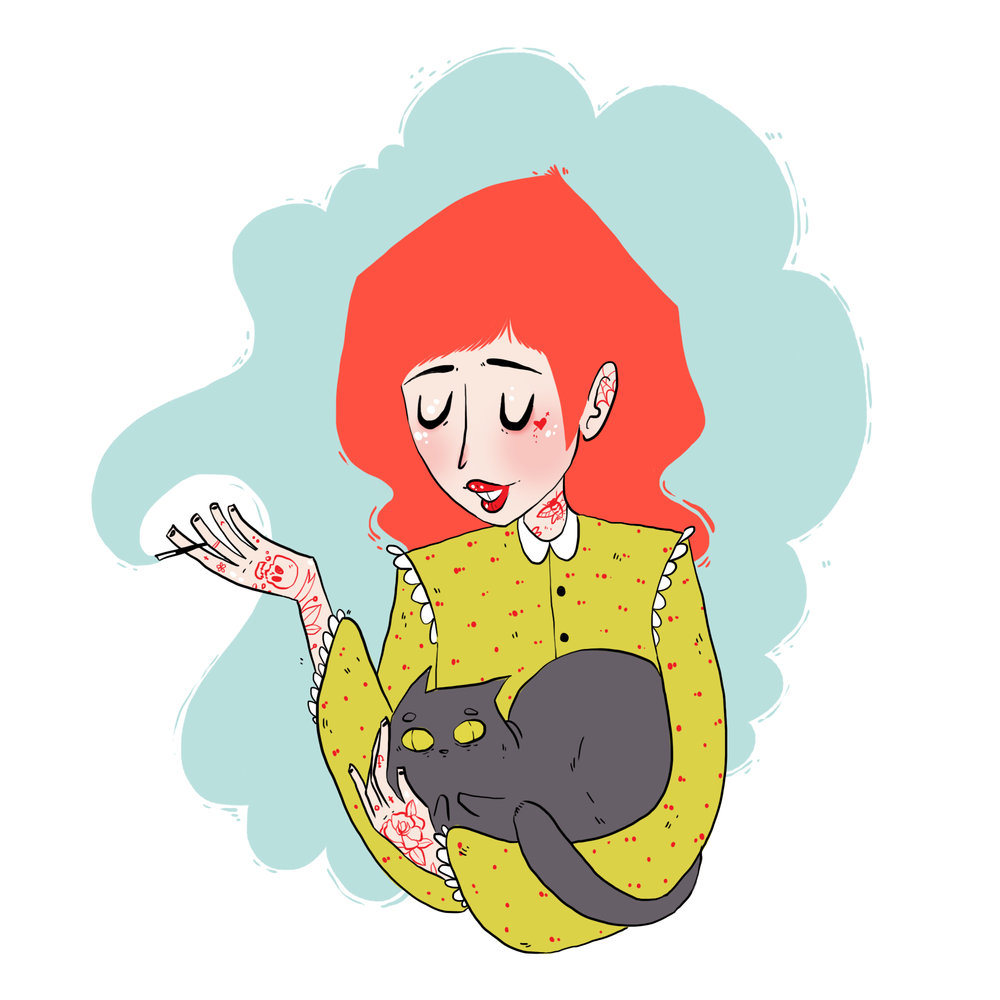Cat Lady in Yellow