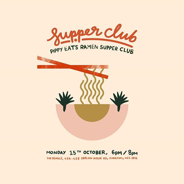 I treated myself to an iPad Pro & Apple Pencil last month in an attempt to up my illustration skills and fell in love with it over creating a set of posters for the lovely @pippyeats and her October events running at @beaglesabout and @formlifestylestore :—) #posterdesign #layoutdesign #manchester #illustratorsoninstagram #supperclub #eatmcr #vscodesign #designoftheday
