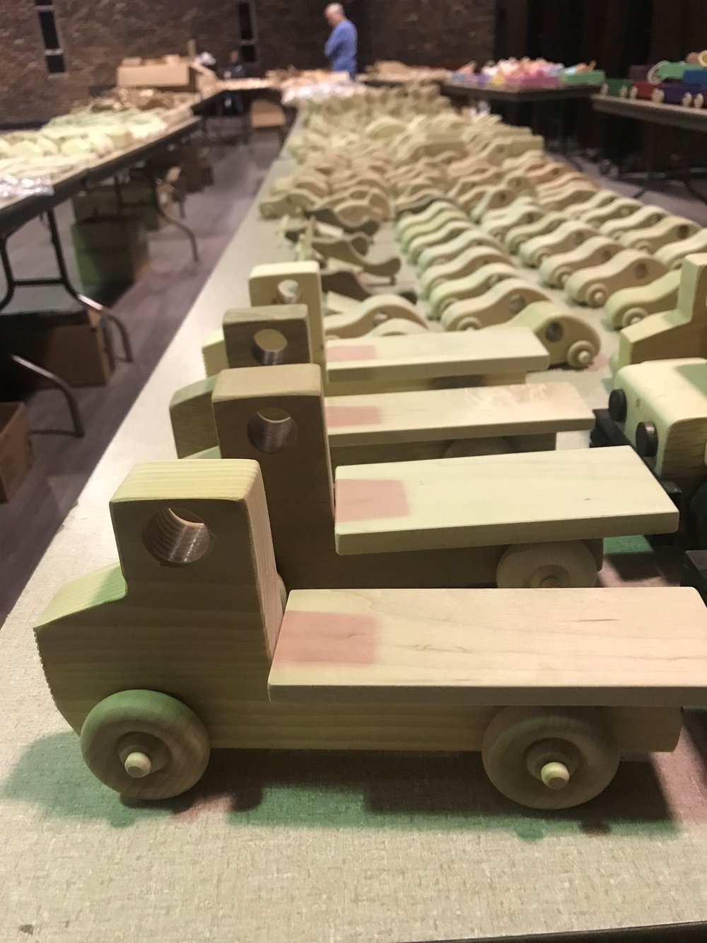 Some of the 1,500 wooden toys DuPage Woodworkers Club members made