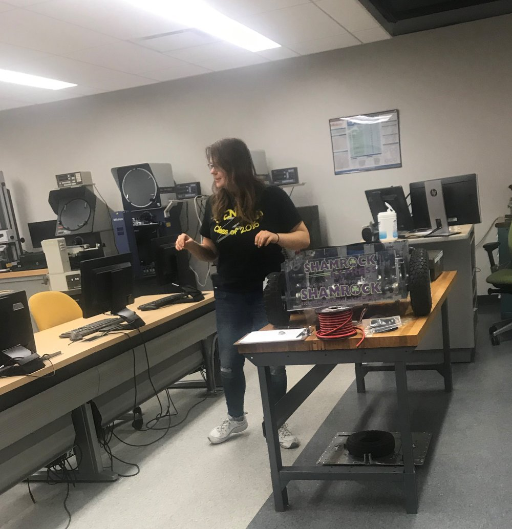 Robotics team member Anna Metlushko working on Demobot