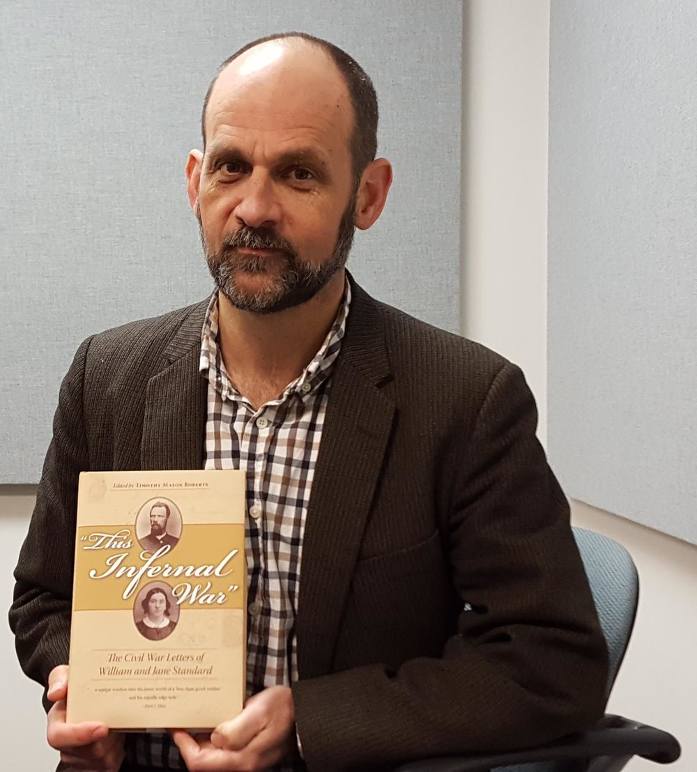 Timothy Mason Roberts compiled and edited the book based on the civil war era letters between William and Jane Standard (photo courtesy of Tri-States Public Radio)