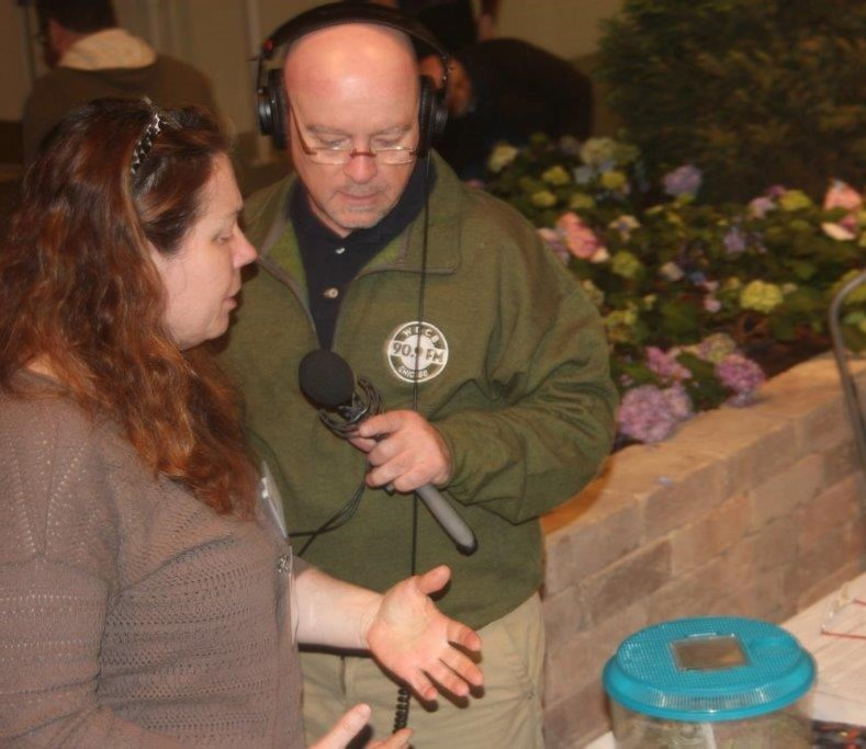 U of I Extension educator Nancy Zook explains the goal of the Extension's insect petting zoo while First Light host Brian O'Keefe keeps a safe distance from the giant hissing cockroaches.