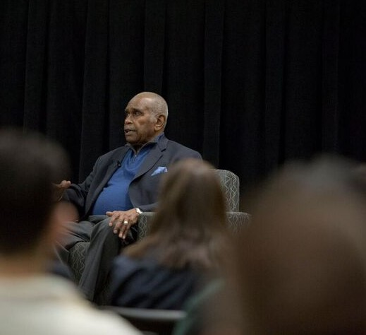 Retired COD adminstrator Dr. Ernie Gibson remembered his friend and mentor Rev. Martin Luther King Jr. just days before the 50th anniversary of King's assassination.  Photo courtesy of the College of DuPage Newsroom