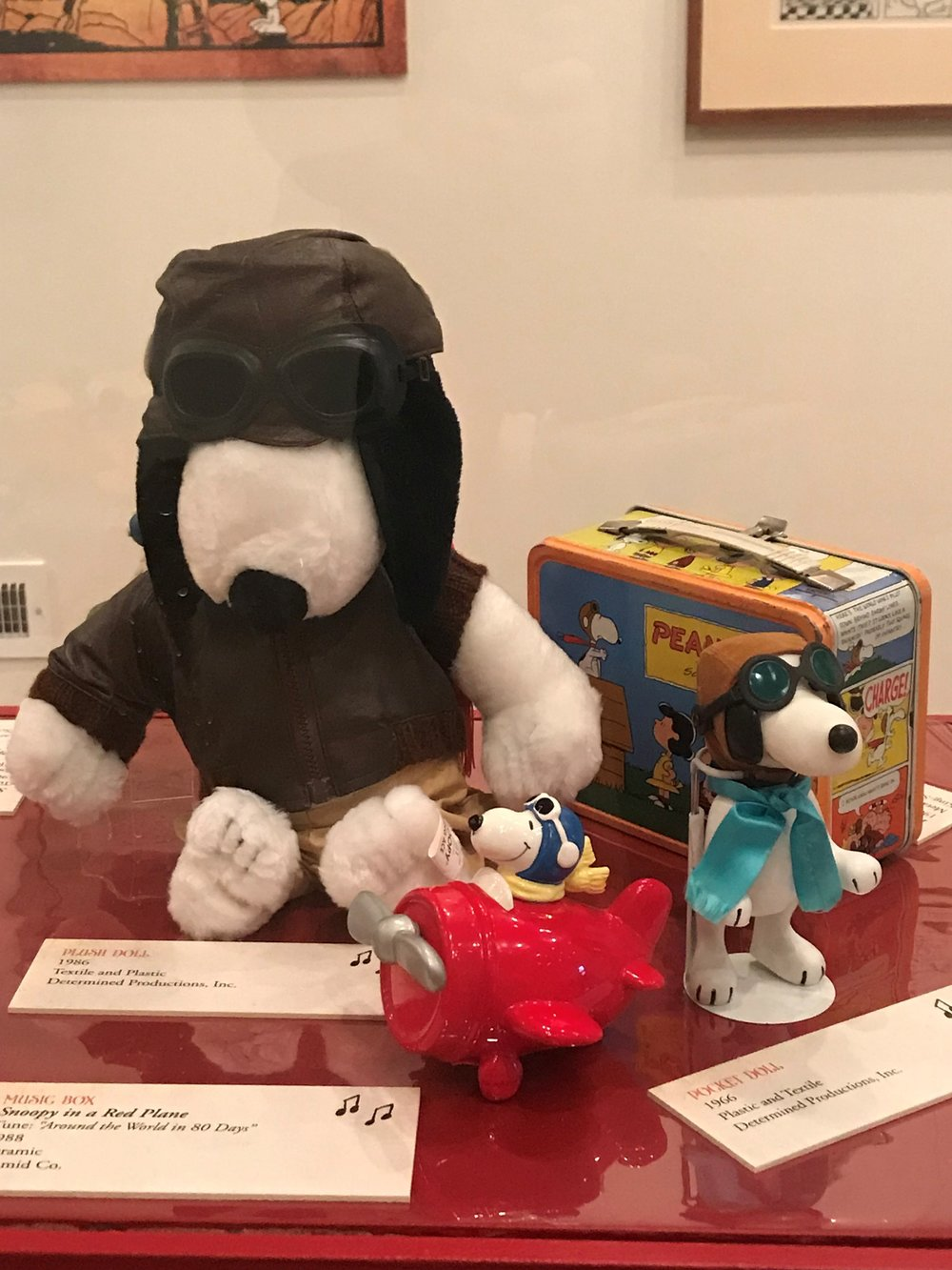 The popularity of Snoopy as a World War I flying ace prompted stuffed animals, collectibles, and even a lunchbox