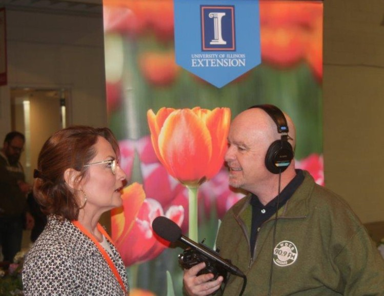 University of Illinois Extension Program Coordinator Val Kehoe (left) speaks with First Light host Brian O'Keefe