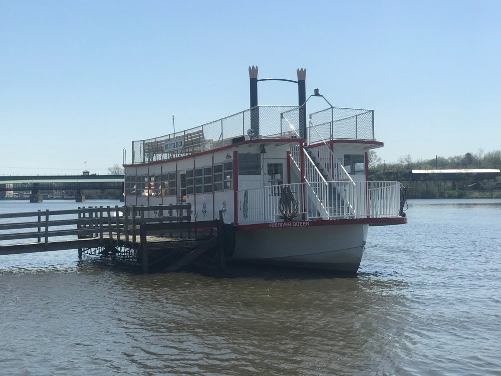 The Queen of The Fox waits to take on passengers for another summer touring season on the Fox River in St. Charles