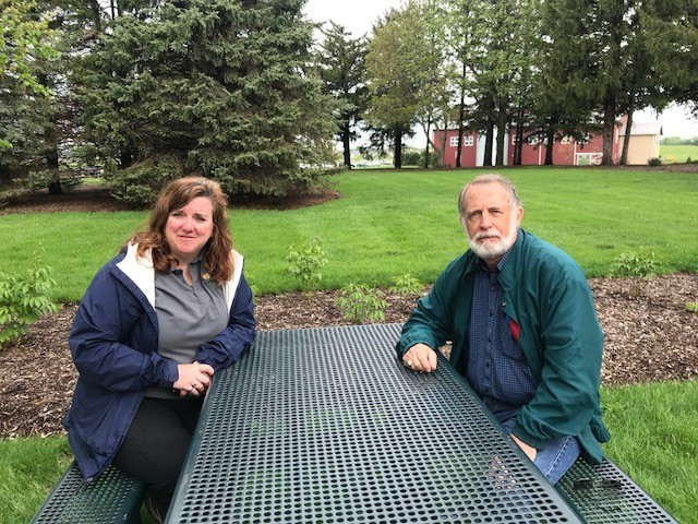 Peck Farm Park Director Trish Burns (left) and University of Illinois Extension educator Richard Hentschel (right)