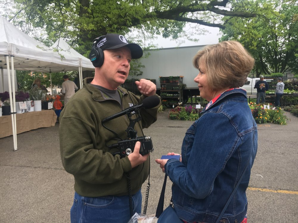 First Light host Brian O'Keefe tours Oak Park farmers market with Illinois Farmers Market Association Director Jane Maxwell