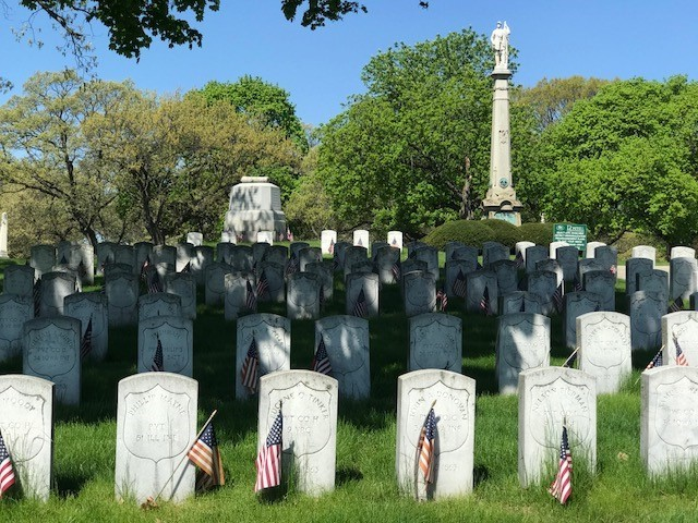Plot of Union Soldier Graves at Rosehill Cemetery