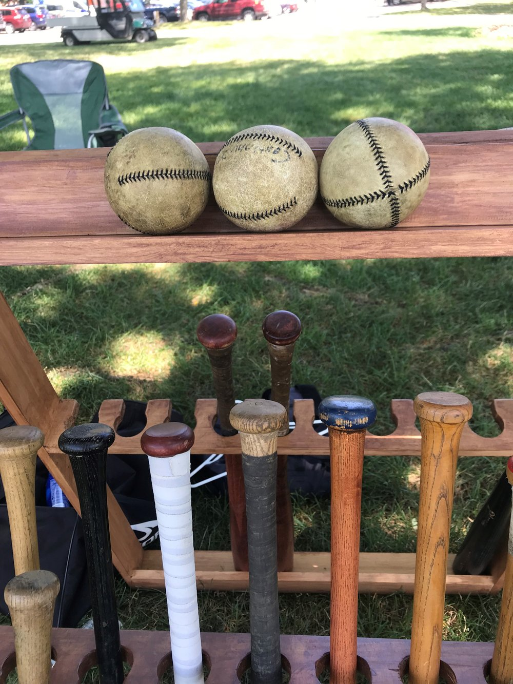 Vintage bats and balls stand at the ready for the 5th Annual Red Oak Vintage Baseball Festival at Cantigny