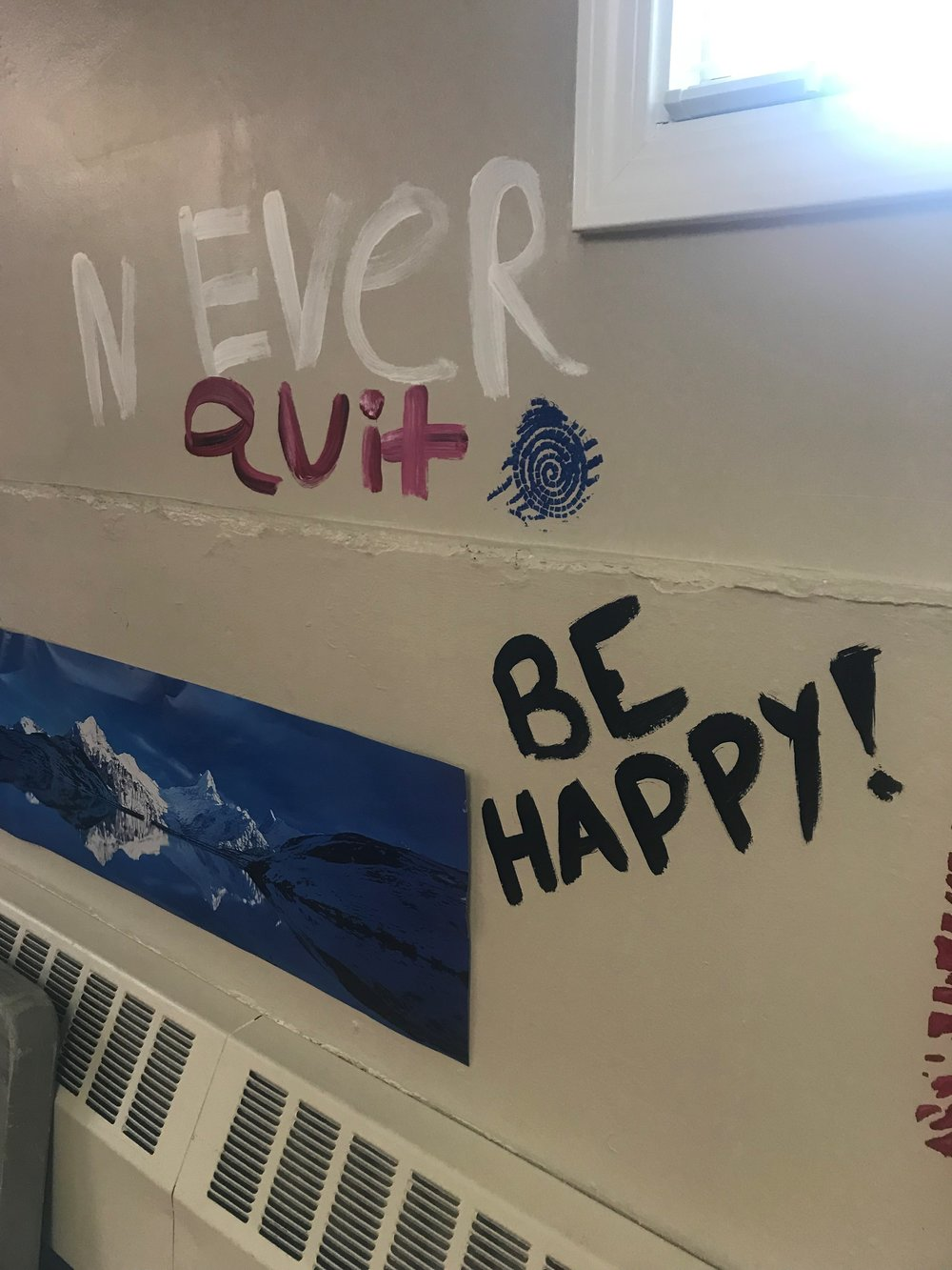 Volunteers added encouraging words to the walls of the room at the Marian Park Apartment complex that will serve as a space for the after school program