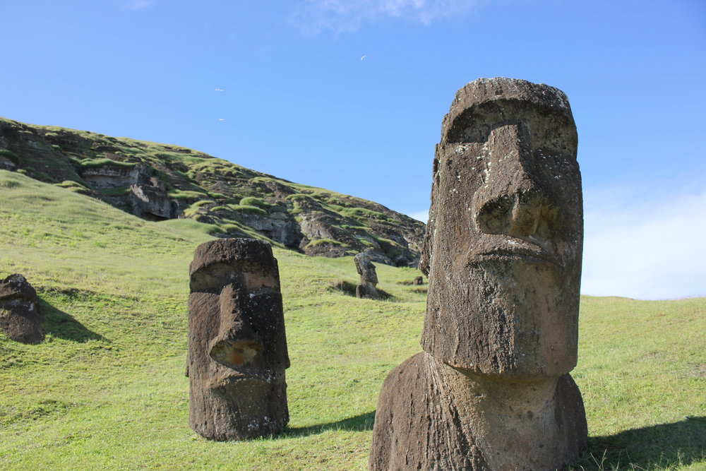The Moai, ancient sculptures on Rapa Nui (Easter Island) served as a genealogical record and a link to the past for the island's people (Photo courtesy of Dale Simpson Jr.)