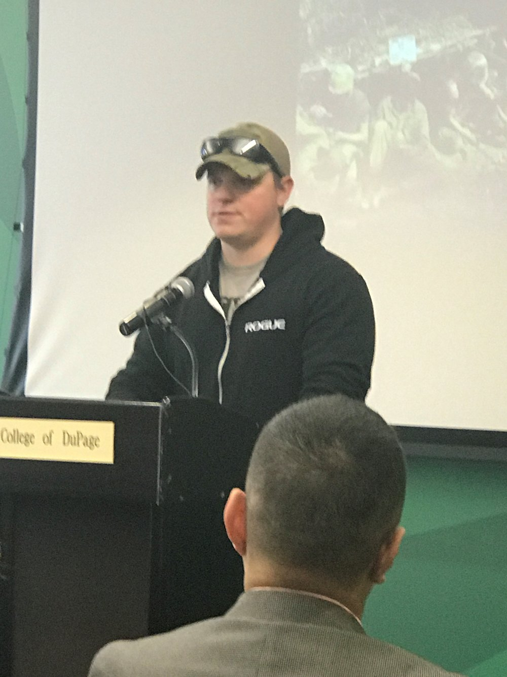 College of DuPage student and veteran Rich Ryan recounted his memory of service during the 2017 Veterans Day Read-In