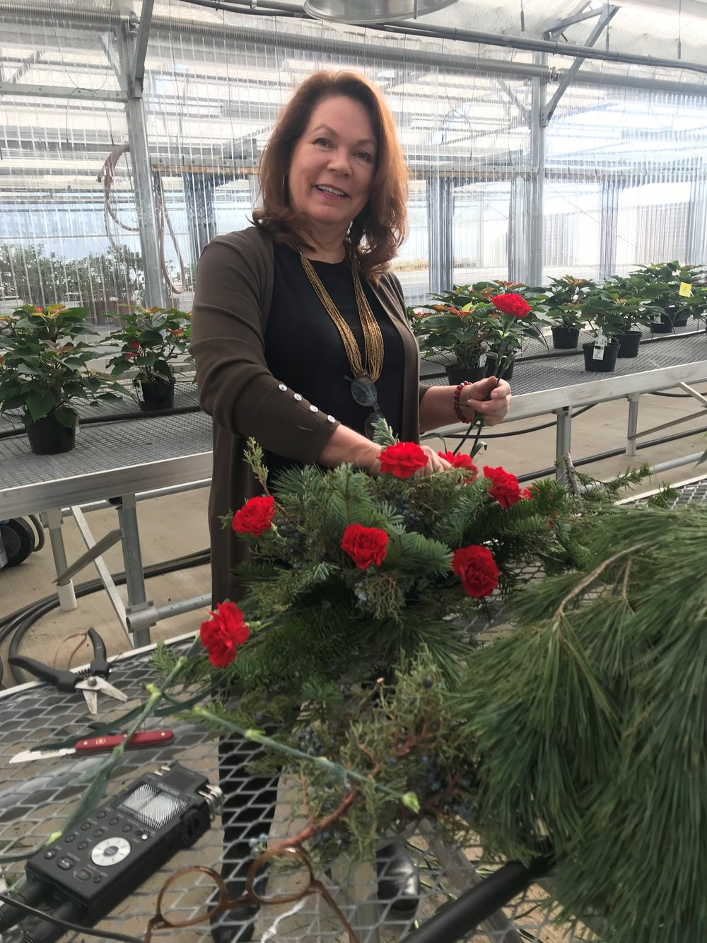 College of DuPage Floral Design instructor Denise Walden takes listeners through the steps of creating a festive centerpiece