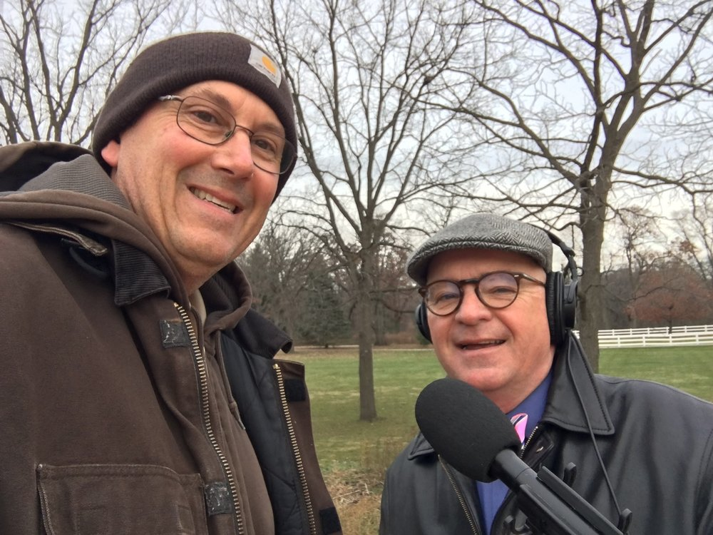 DuPage Forest Preserve Senior Ranger David Sima (left) and First Light host Brian O'Keefe went looking for wild turkeys at St. James Farm in west Wheaton
