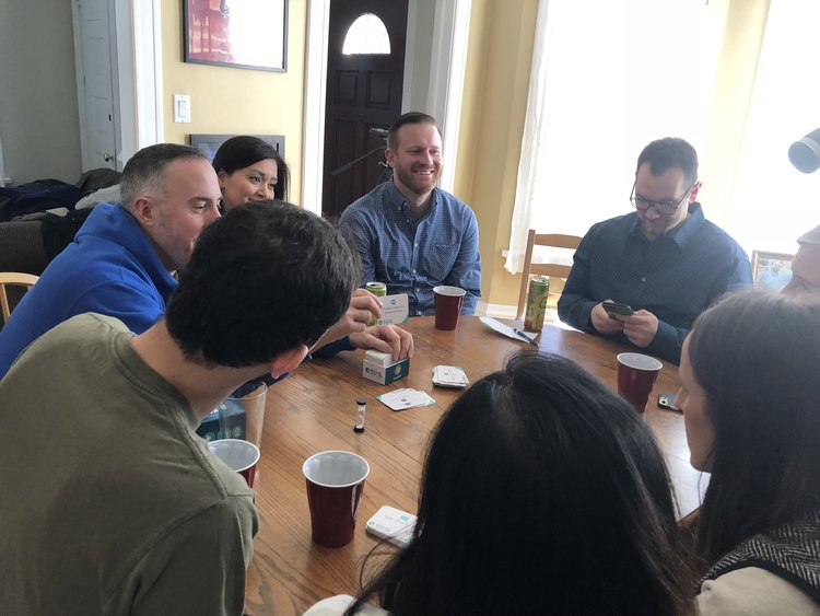 Gray Matters Games founders Joe & Lauren Barron host games nights each month at their home. It's part social, part promotion, and part research and development for the company