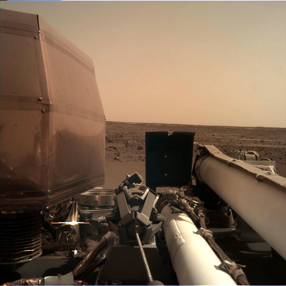 One of the first pictures sent back to Earth from the Mars lander Insight