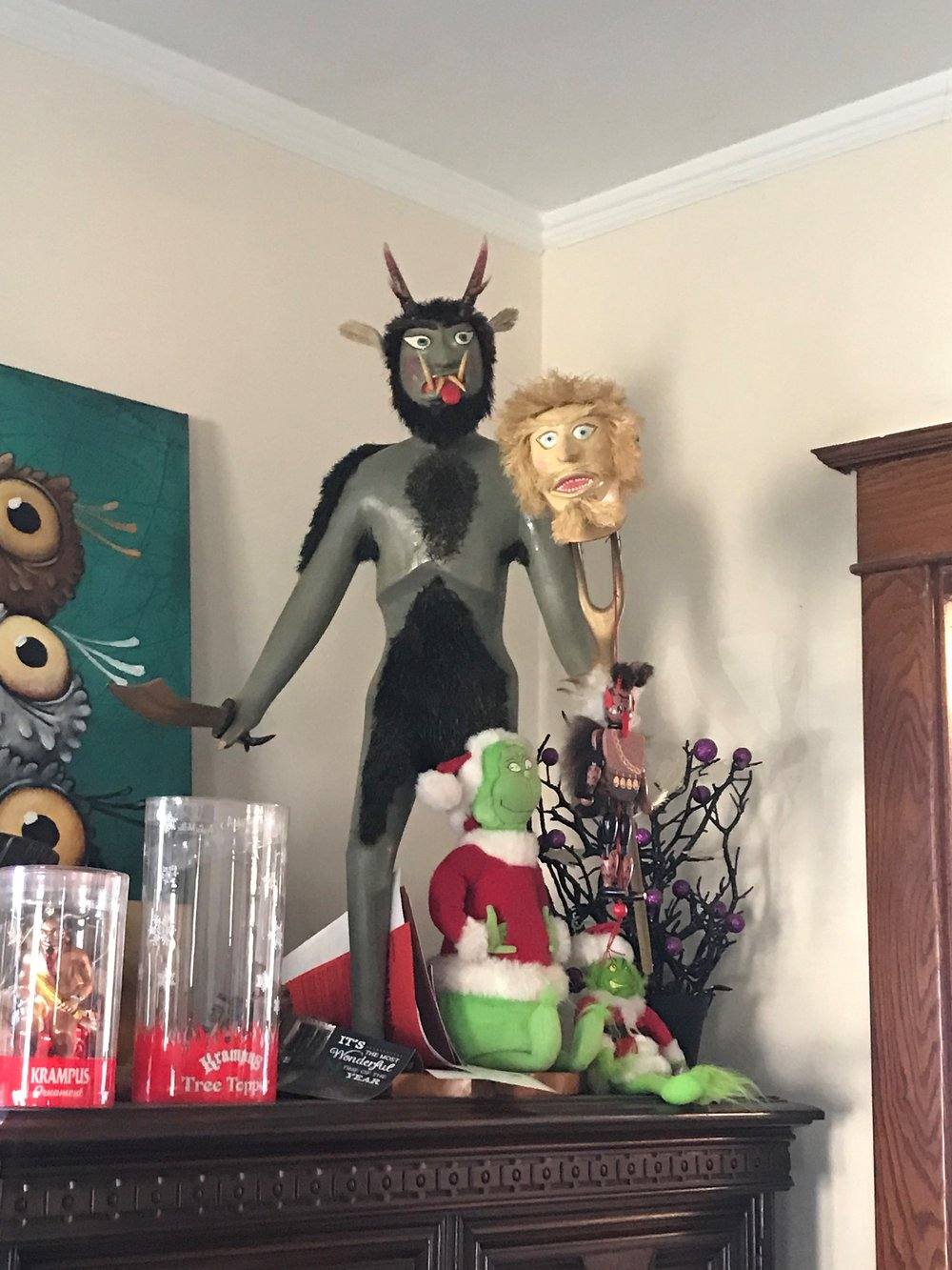 A few of the Krampus collectibles at the home of the Northern Illinois Krampus, Andrew Skic