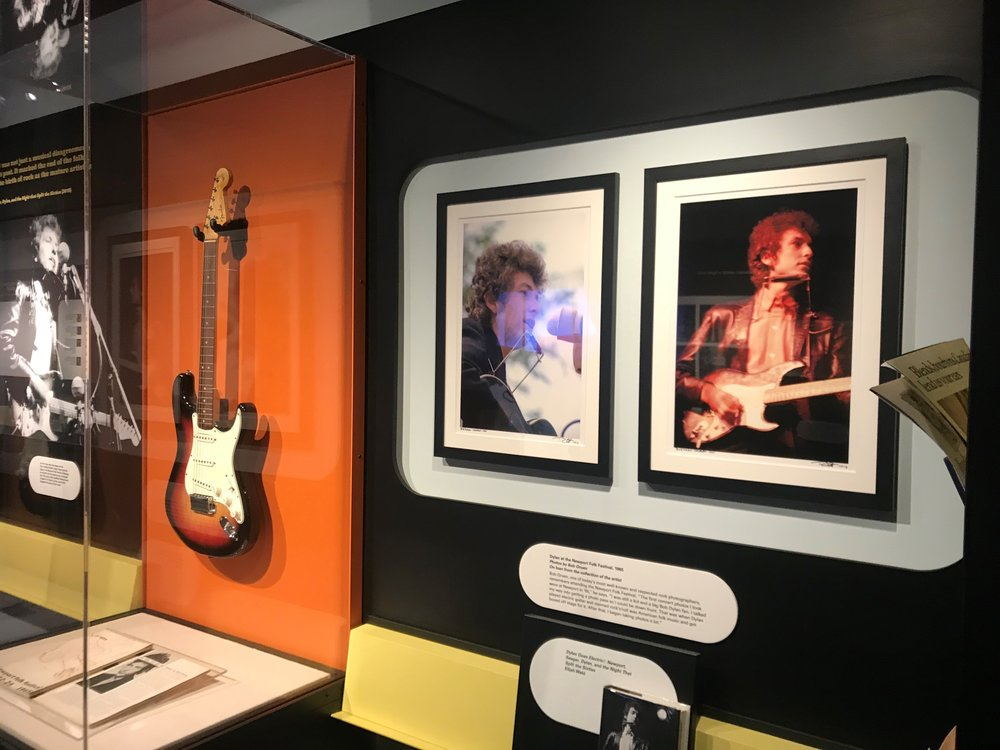 The Fender Stratocaster Bob Dylan played at the Newport Folk Festival in 1965 is the center piece of the 'Bob Dylan: Electric' exhibit at the American Writers Museum in Chicago