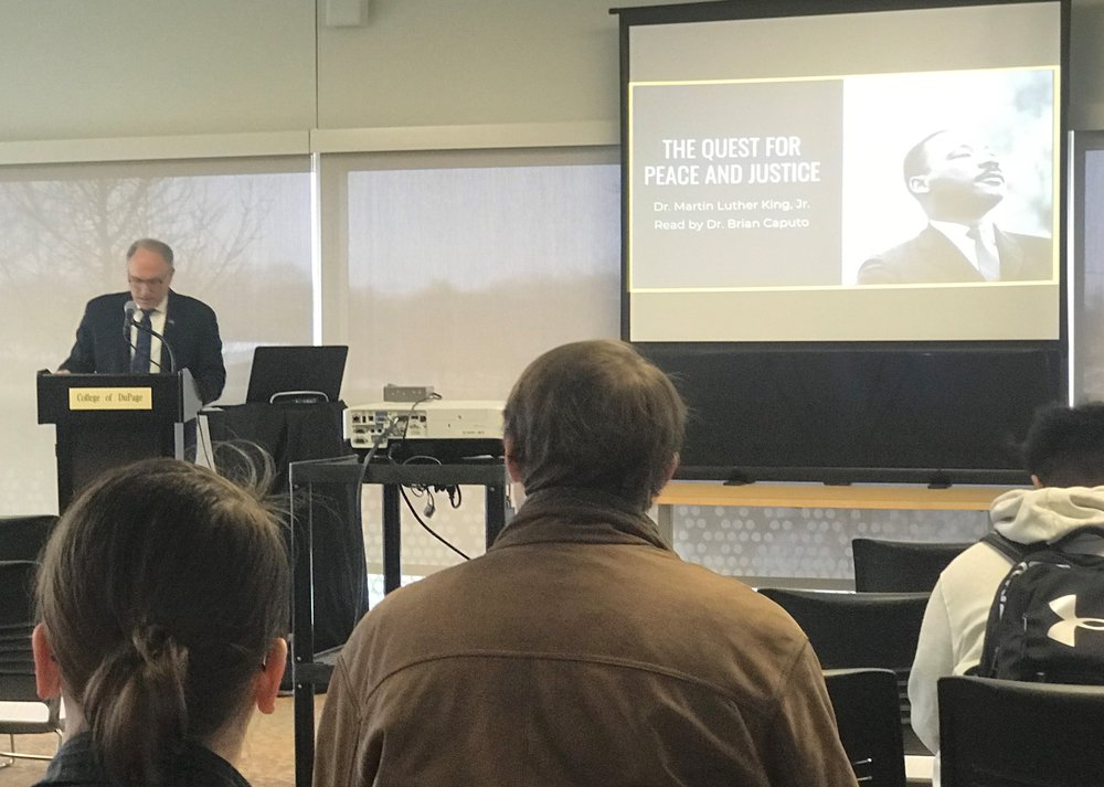 College of DuPage interim President Dr. Brian Caputo read from Rev. Dr. Martin Luther King Jr.'s Nobel Peace Prize acceptance speech as part of the annual African American Read-In