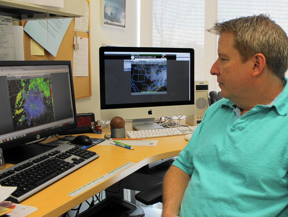 College of DuPage Meteorology Professor Paul Sirvatka is ready to track the severe weather that comes with a spring warm up