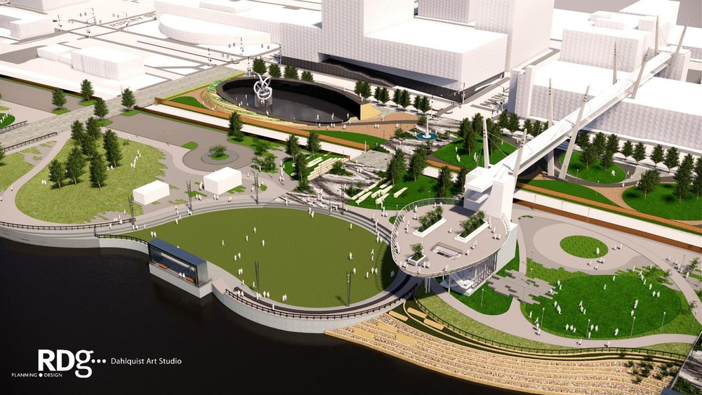 Designers unveiled a plan to enhance the riverfront park along the Mississippi River in Davenport (image submitted by RDG DAHLQUIST ART STUDIO)
