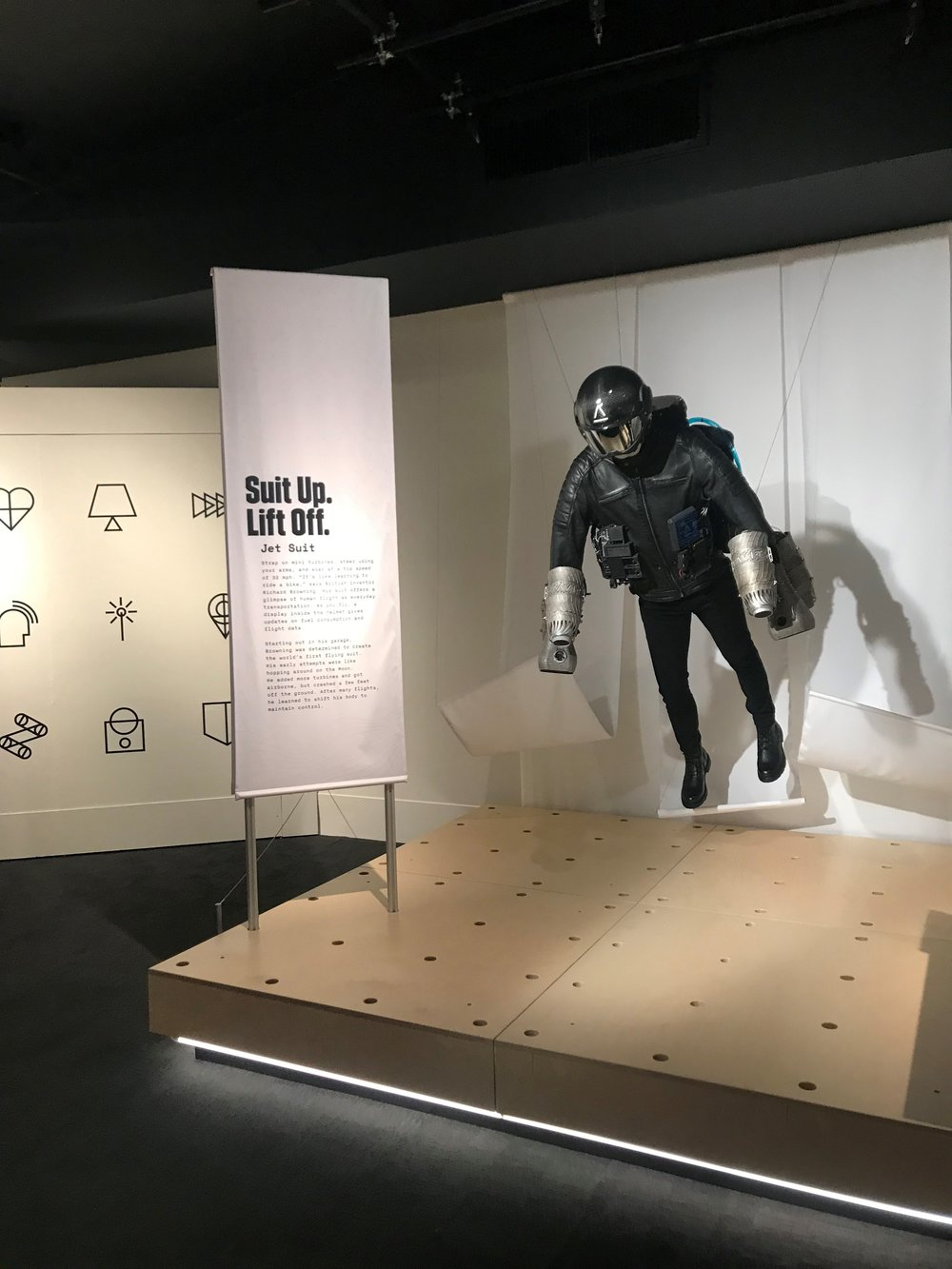 Browning's jet suit is on display as part of the wearable tech exhibit 'Wired to Wear'