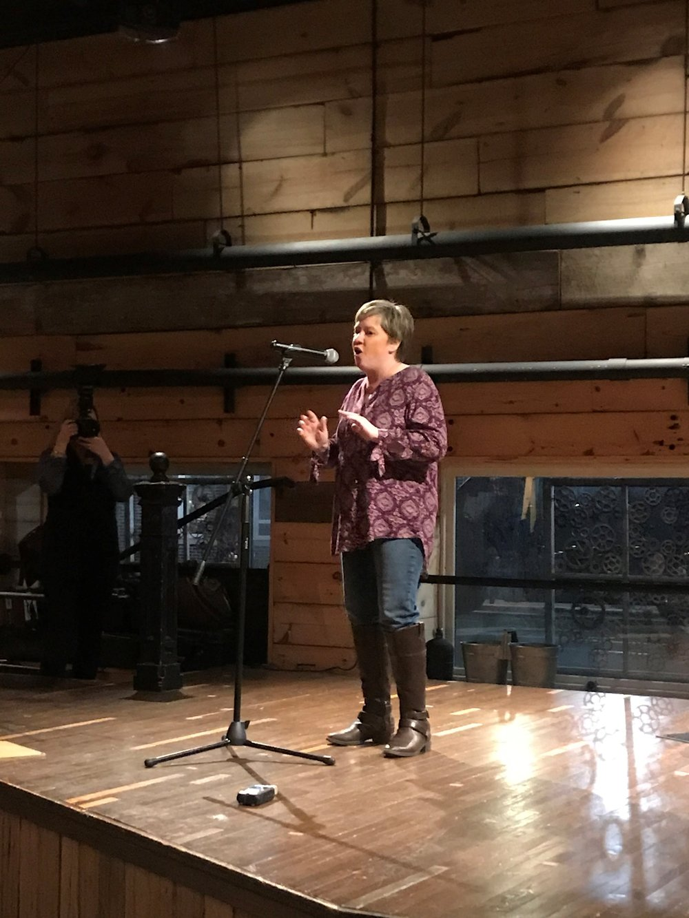 First time storyteller Robyn Whitlock took the stage at this month's People Tree Storytelling event to tell her story of coming face to face with the devil