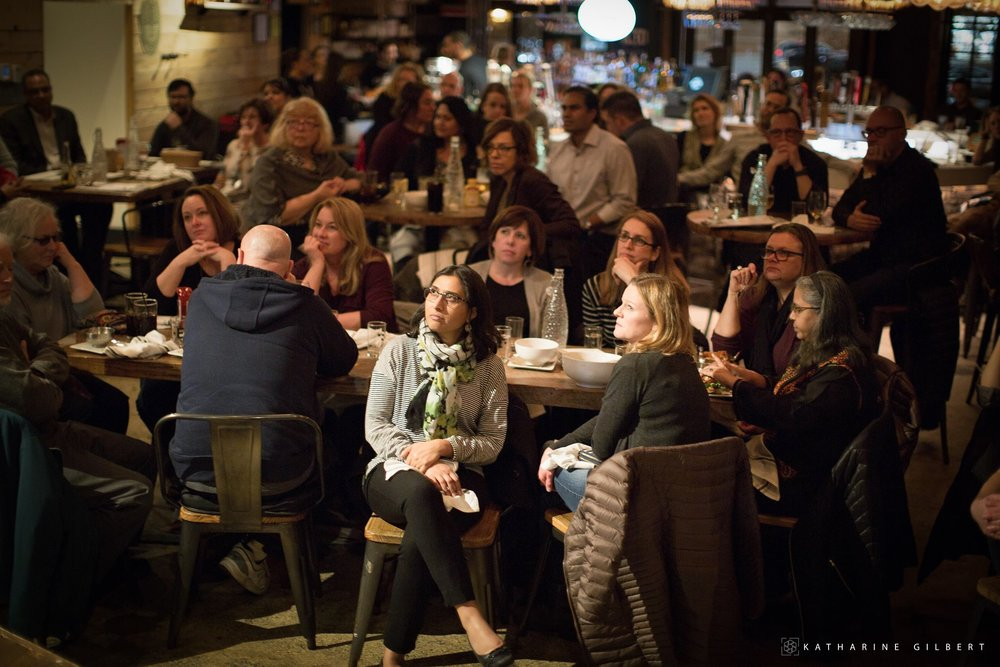 More than 250 people crowded into Empire in downtown Naperville for a sold out storytelling even