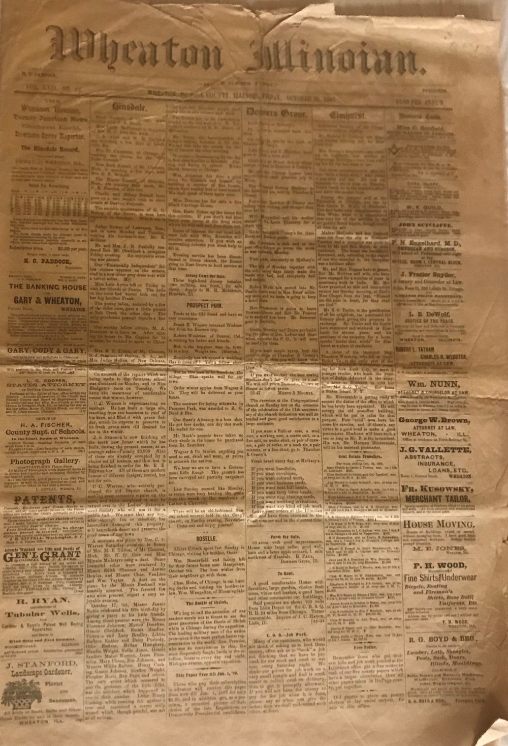 """An old and yellowing copy of the Wheaton Illinoian is among those featured in the DuPage Historical Museum's 'Read All About It!"""" exhibit"""