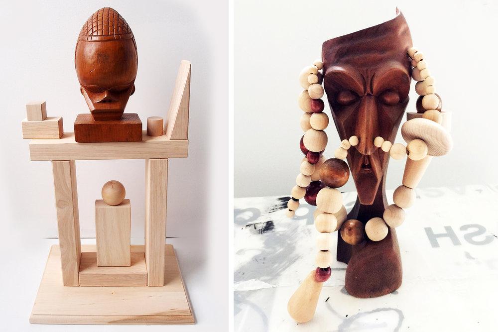 "African Head, wood, 21"" x 12"" x 9""                                      Strange Head , wood, 12"" x 8"" x 6"""