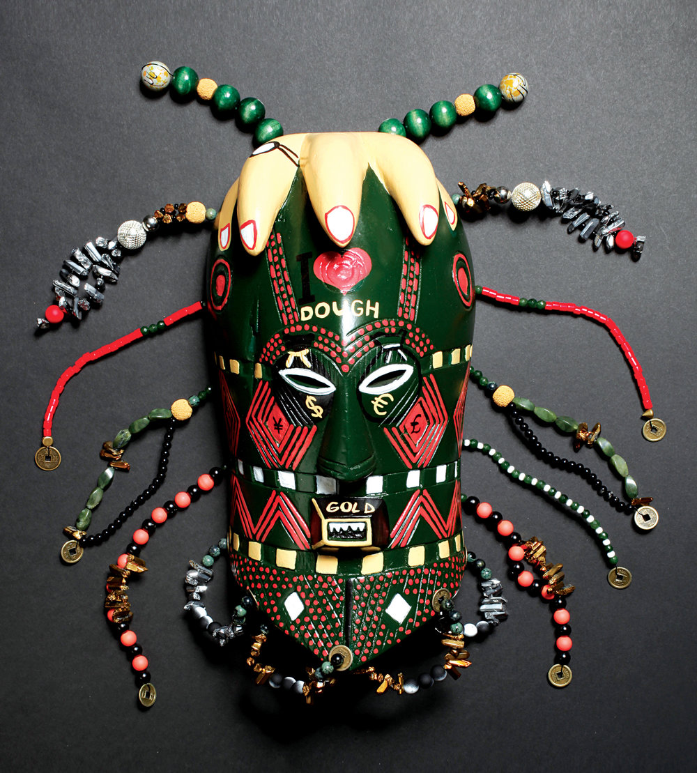 "Mask, God of Money, wood, iron, beads,stones, 20"" x 20"" x 4"""