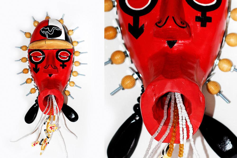 "Mask, God of Sex, wood, beads, plastic, iron, 20"" x 11"" x 5"""