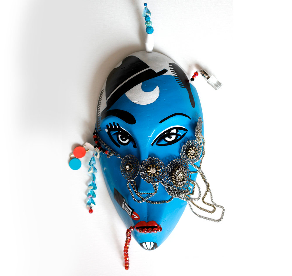 "Mask, Goddess of Look, wood, metal, iron, plastic, stones, 16,5"" x 9"" x 3"""