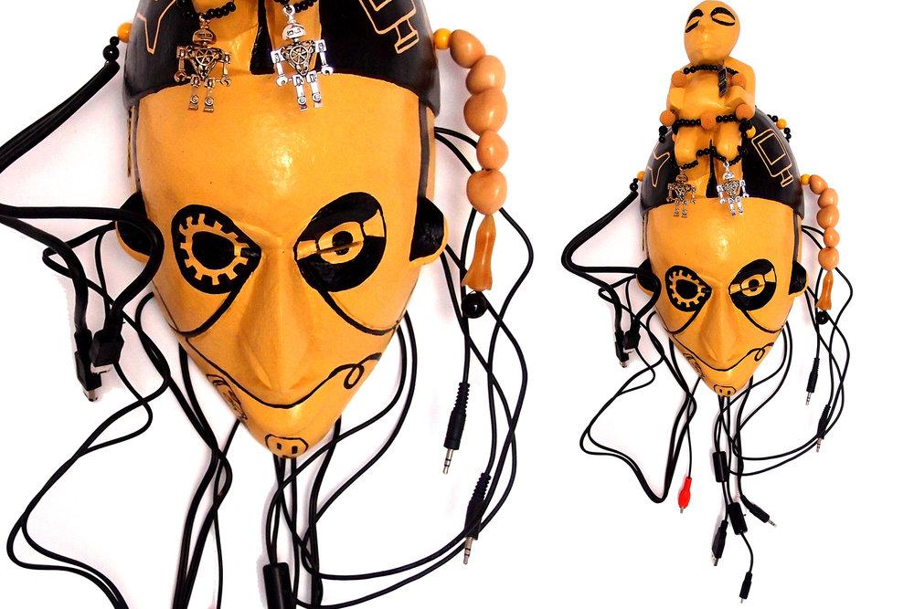 """Mask,God of Progress, wood, plastic, metal, 11"""" x 7,5"""" x 5"""""""