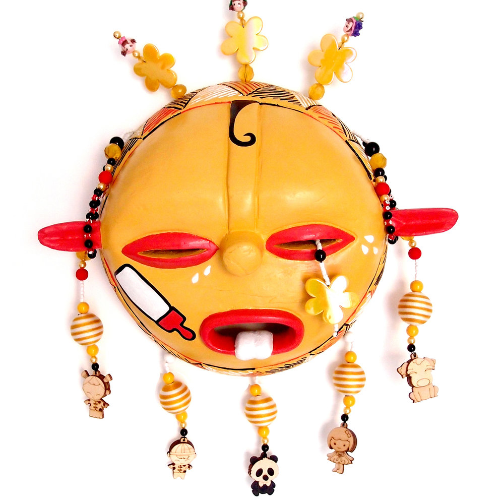 "Mask, God of Children, wood, plastic, beads, metal, 14"" x 11"" x 4"""