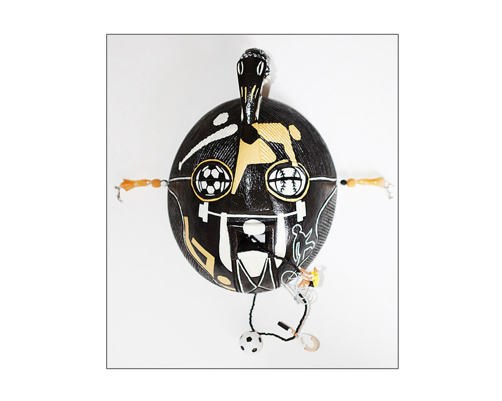 "Mask, God of Sports, wood, metal, beads, plastic, 16,5"" x 16"" x 7"""