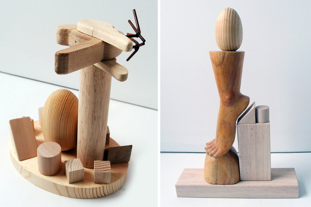"A bird and an egg, wood, 8"" x 7"" x 5""                                                                       Foot and one egg, wood, 16"" x 11"" x 2,75"""