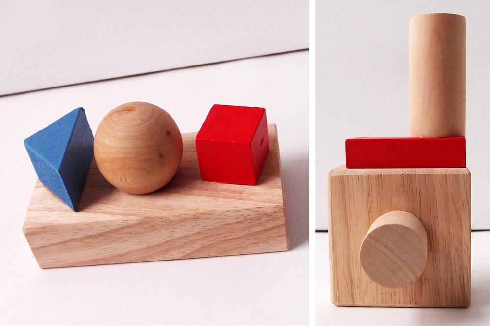 """4 Forms, wood, 5,5"""" x 2,75"""" x 2,5""""                                                      Camera, wood, 5,5"""" x 2,75"""" x 1,25"""""""