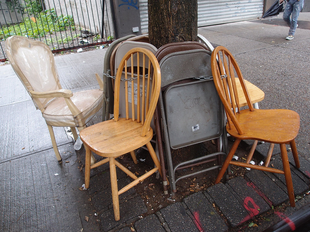 It's my chair, different styles, 116th Street Harlem, NYC