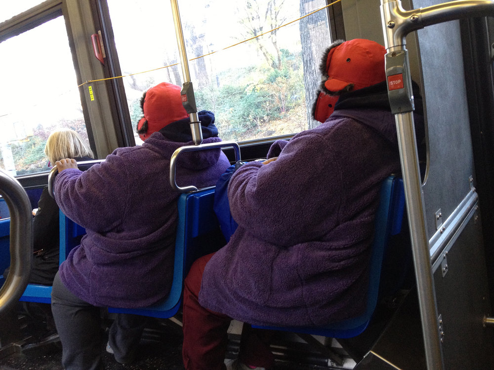 Twins in the bus, NYC