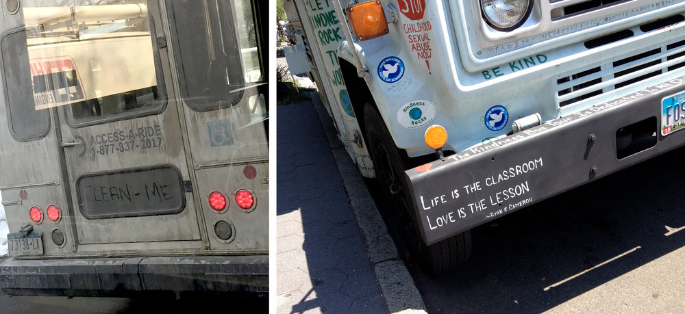 Buses, not the same message, NYC